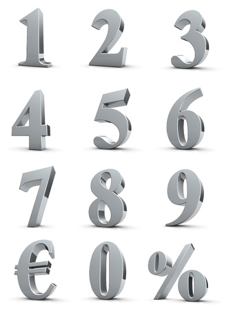 silver numbers with euro and percent symbol photo