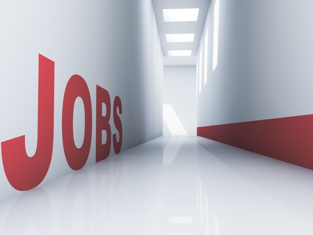 vacante: Prestaci�n de un texto puestos de trabajo de color rojo en un pasillo