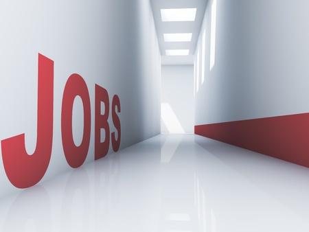 Rendering van een rode banen tekst in een gang Stockfoto