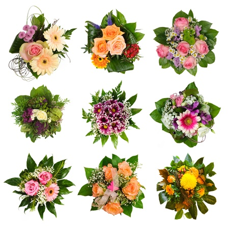 Nine isolated beautiful and colorful bouquets photo