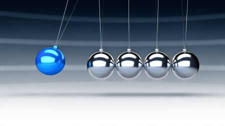 swinging: Rendering of newtons cradle with a blue ball Stock Photo