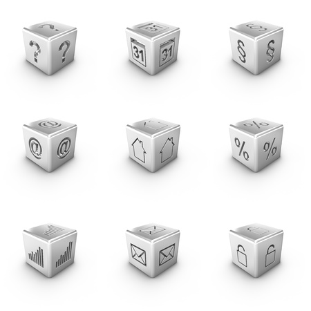 Nine different 3D silver cubes web icons photo