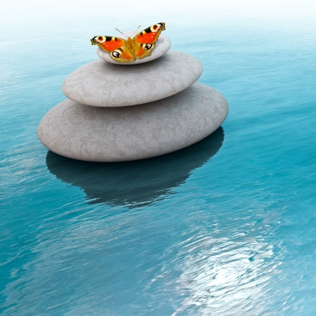 Zen stones with butterfly on a sea photo