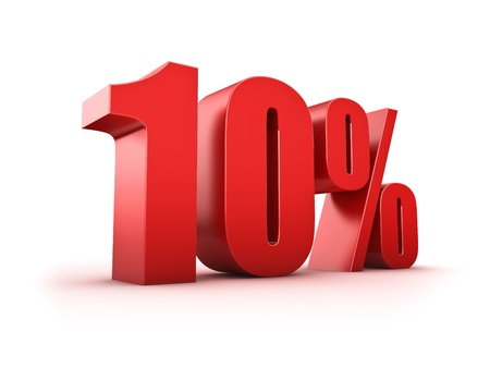 number 10: 3D Rendering of a ten percent symbol Stock Photo