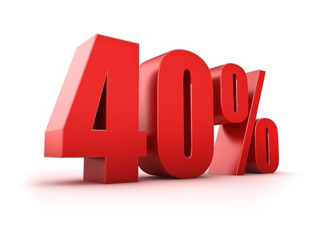 3D Rendering of a forty percent symbol Stock Photo