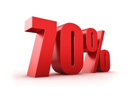 seventy: Rendering 3D di un simbolo settanta per cento