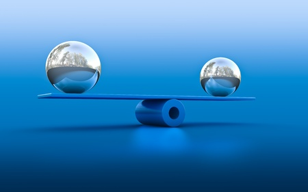 poise: 3d rendering of two spheres in balance Stock Photo
