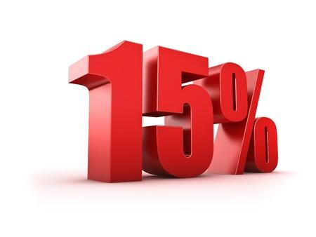 fifteen: 3D Rendering of a fifteen percent symbol