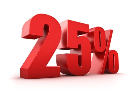 25: 3D Rendering of a twenty-five percent symbol Stock Photo