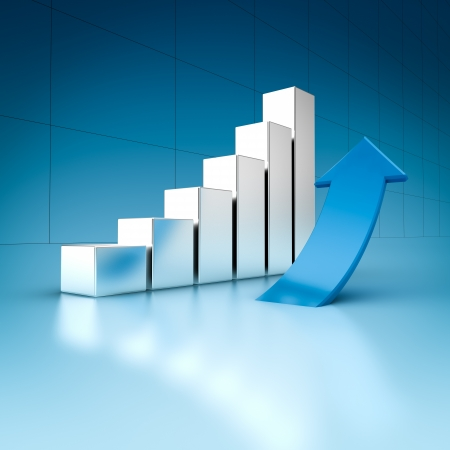 bar chart: Business charts with arrow, 3d illustration