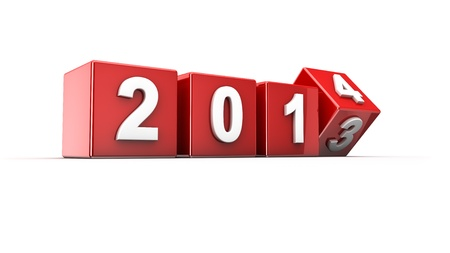 New year 2013 to 2014 concept in 3d