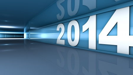 abstractly: New year 2014 concept in 3d Stock Photo