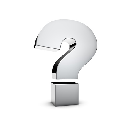 why: Rendering of a silver Question Mark on white background Stock Photo