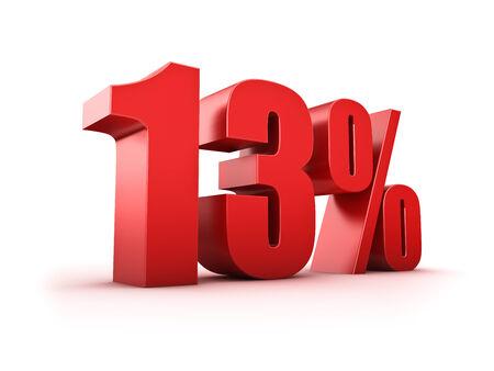 thirteen: 3D Rendering of a thirteen percent symbol