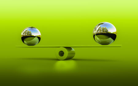 adjustment: 3d rendering of two spheres in balance Stock Photo