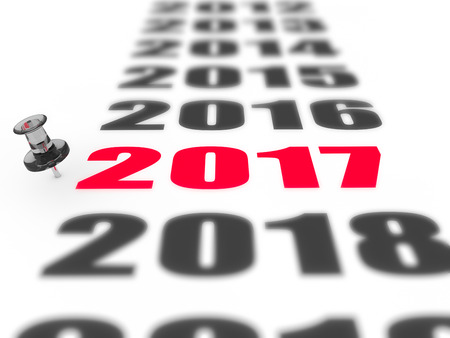 abstractly: New year 2017 concept in 3d Stock Photo