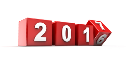 newyear: New year 2016 to 2017 concept in 3d Stock Photo