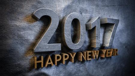 feliz: Feliz año nuevo 2017 concepto en 3d Foto de archivo