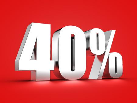 40 % 기호의 3D 렌더링