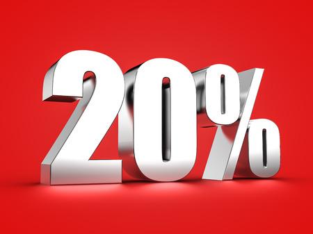 twenty: 3D Rendering of a twenty percent symbol Stock Photo