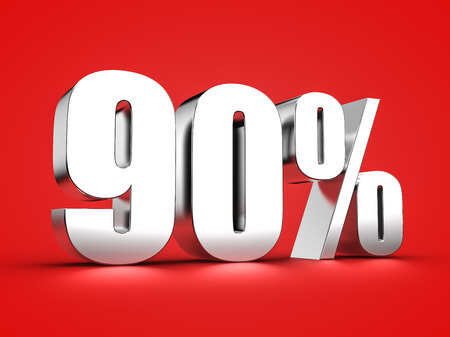 90: 3D Rendering of a ninety percent symbol