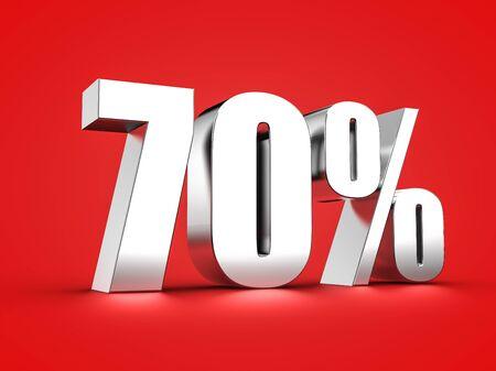 3D Rendering of a seventy percent symbol Stock Photo