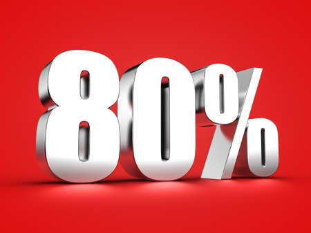 3D Rendering of a eighty percent symbol Reklamní fotografie