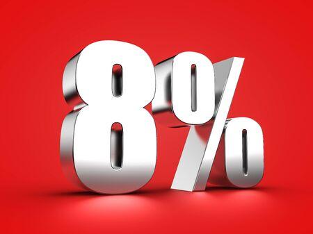 3D Rendering of a eight percent symbol