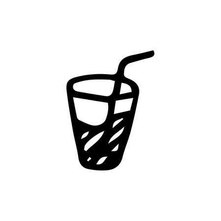 Handdrawn doodle cocktail icon. Hand drawn black sketch. Sign symbol. Decoration element. White background. Isolated. Flat design. Vector illustration. Vectores