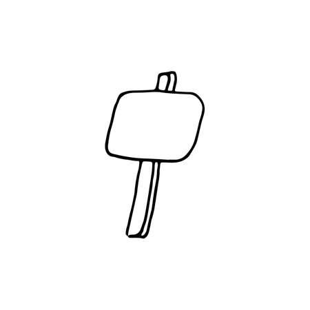Handdrawn billboard doodle icon. Hand drawn black sketch. Sign symbol. Decoration element. White background. Isolated. Flat design. Vector cartoon illustration.