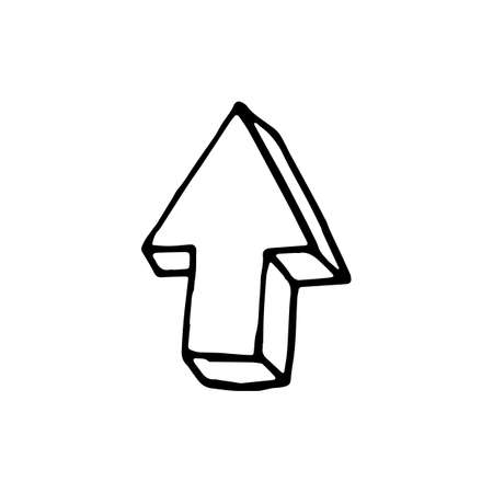 Handdrawn doodle arrow  icon. Hand drawn black sketch. Sign symbol. Decoration element. White background. Isolated. Flat design. Vector illustration. Vectores