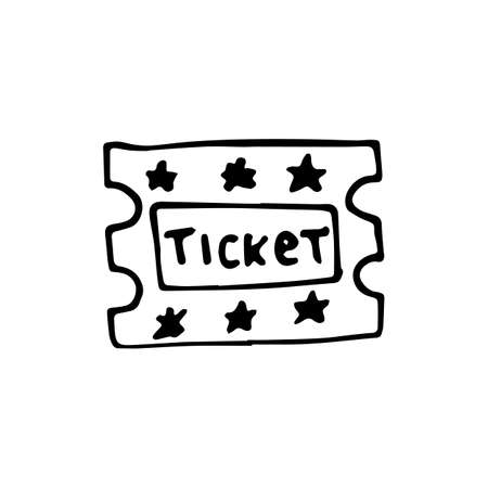 Handdrawn doodle ticket icon. Hand drawn black sketch. Sign symbol. Decoration element. White background. Isolated. Flat design. Vector illustration.