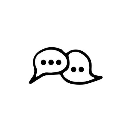 Handdrawn doodle chat icon. Hand drawn black sketch. Sign symbol. Decoration element. White background. Isolated. Flat design. Vector illustration.