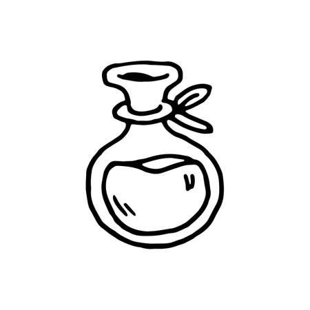 Handdrawn doodle flask icon. Hand drawn black sketch. Sign symbol. Decoration element. White background. Isolated. Flat design. Vector illustration.