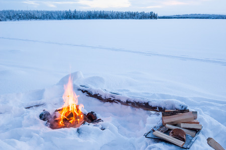 forest fire: Campfire in winter landscape