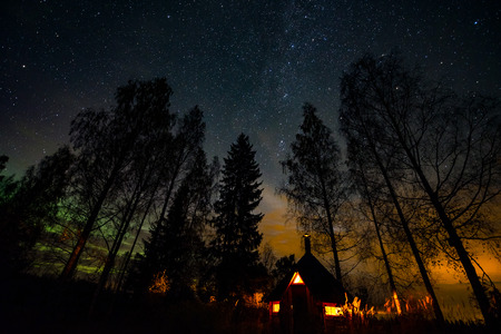 Atmospheric night at laplanders hut Stock Photo