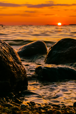 Sunset in rocky coast