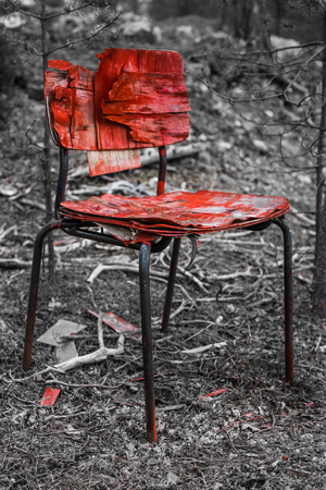 Red chair in forest Stock Photo