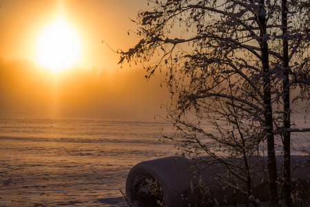 Cold sunrise in countryside Stock Photo