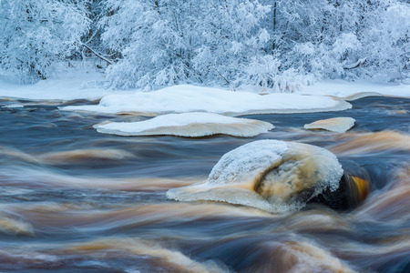 Winter river landscape Stock Photo