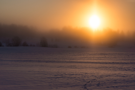 Cold and misty winter sunrise Stock Photo - 52481942