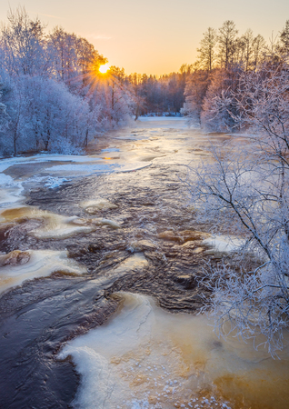 Winter river in sunset light Stock Photo