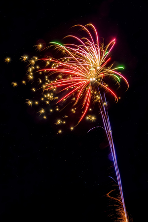 Colorful firework explosions