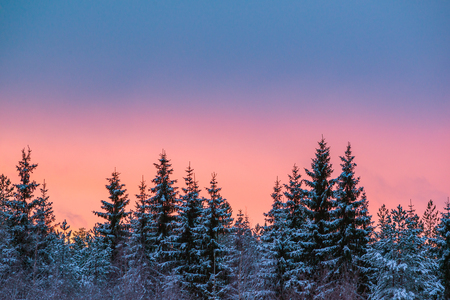 Colorful winter evening landscape after sunset Stock Photo