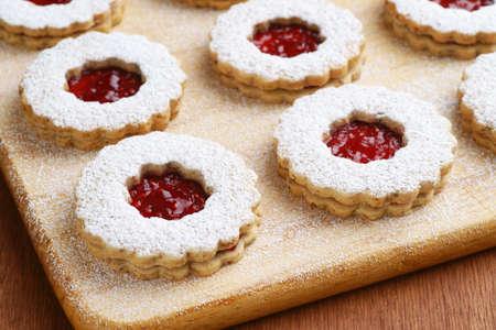Linzer Torte Cookies Filled with Raspberry Jam