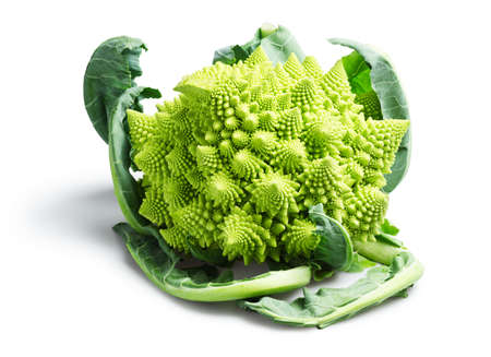 Romanesco Cauliflower or Broccoli Isolated on White Background