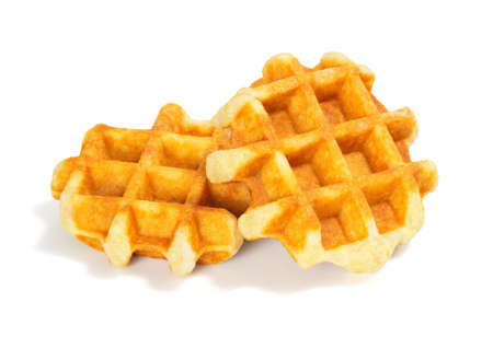 Two Plain Liege Style Belgian Dessert Waffles Isolated on a White Background 写真素材
