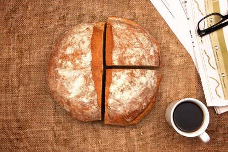quarters: half and quarters of organic bread Stock Photo