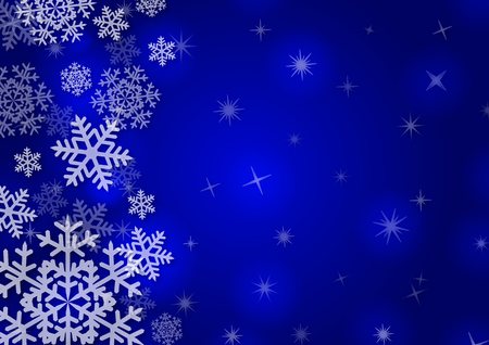 adorn: Christmas background with snowflakes in blue colored scenery