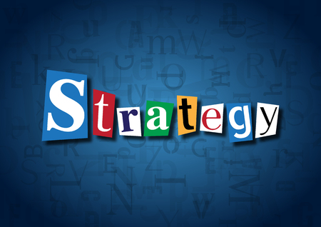 strategical: The word Strategy made from cutout letters